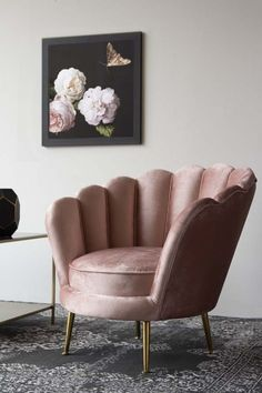 With a scalloped, oyster shaped back the cocooning Rose Pink Velvet Petal Armchair is upholstered in a luxury blush pink with luxe gold legs – an oh so sophisticated and elegant chair for your living rooms, bedrooms and hallways. Bedroom Furniture, Home Furniture, Furniture Design, Bedroom Decor, Bedroom Armchair, Garden Furniture, Pink Velvet Chair, Pink Sofa, Velvet Chairs