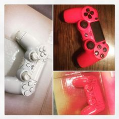 This handy Diphead taped off the buttons of a PS4 controller before dipping it in White and Blaze Pink! Get your game on.