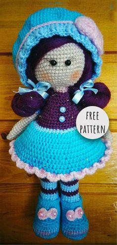 Crochet Stuffed Dolls Amigurumi Doll with Hair Free Pattern Amigurumi Doll, Amigurumi Patterns, Doll Patterns, Crochet Doll Pattern, Crochet Dolls, Crochet Patterns, Easy Crochet Projects, Crochet Crafts, Doll With Hair