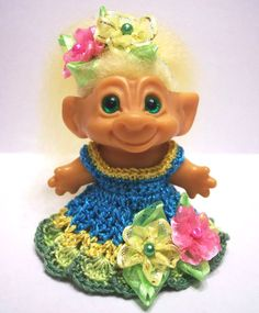 "Troll Doll Clothes Crochet Dress Outfit Fits 2 1 2"" or 2 3 4"" Dam 2 