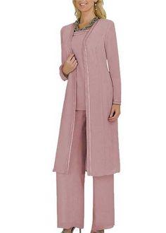 3888a7de35437 Mother of the Bride Groom Dresses Pants Suits Jackets Chiffon Long Sleeves 3  pc Dresses Pants Groom