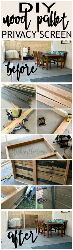 DIY Outdoor Wood Pallet Privacy Screen. Hide garbage cans, tools, pool pumps and bikes with this backyard screen. http://trishsutton.com/outdoor-wood-pallet-privacy-screen/