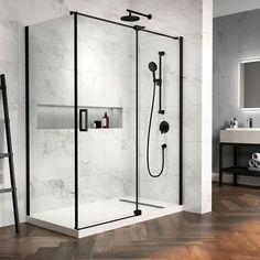 x x pivot shower doors with clear glass - Matte black