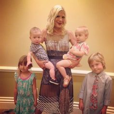 Tori Spelling with kids Liam Aaron (born March 13, 2007) and Finn Davey (born August 30, 2012),[35] and daughters Stella Doreen (born June 9, 2008)[36] and Hattie Margaret (born October 10, 2011