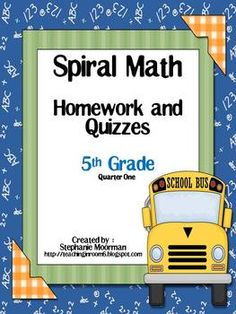 "Spiral math homework....9 weeks....perfect to get the students ready for ""The TEST"""