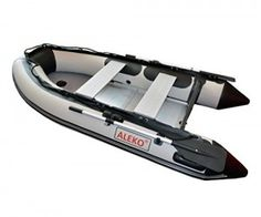 ALEKO® 8.4 Ft Grey Inflatable Boat with Aluminum Floor Heavy Duty Design 4 Person Raft Sport Motor Fishing Boat 3+Keel Air Chambers