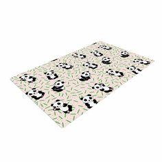 "Yenty Jap ""Little Cute Pandas "" Black White Woven Area Rug"