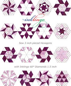 Print Inklingo Diamonds and Triangles on fabric and sew fabulous  Hexagons