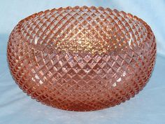 Pink Miss America Diamond Pattern Depression Glass with inward curving sides.  Made by Hocking Glass Company from 1935 - 1938.