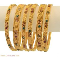 22k Antique Bangles Set (6 pcs) ( Set of Bangles )