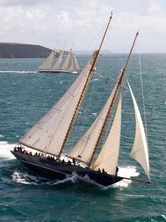 """Sailing - Classic  Gaff Cutter """"Mariette"""" and three masted schooner """"Adix"""" race for the Pendennis Cup."""