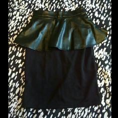 Pencil Skirt with Perforated Faux Leather Peplum This black pencil skirt features a perforated faux leather peplum, which makes for a very flattering fit. Very fun, yet elegant, this skirt has never been worn or laundered, is new with tags, and is looking for a good home! Mossimo Supply Co. Skirts Pencil