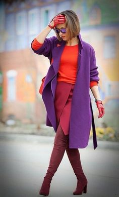 Find and save ideas about topics/winter style/ on Women Outfits. Purple Fashion, Colorful Fashion, Trendy Fashion, Winter Fashion, Womens Fashion, Fashion Trends, Color Blocking Outfits, Mode Outfits, Stylish Outfits
