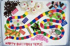 This would be adorable for a child's birthday cake.  You could even make the board spaces using starburst candy squares (although the colors wouldn't match those on the board).