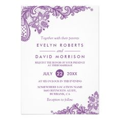 Elegant Lace Lavender Purple White Formal Wedding Card - click/tap to personalize and buy