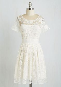Adrift on a Cloud Dress in Ivory by BB Dakota - White, Solid, Daytime Party, A-line, Short Sleeves, Scoop, Wedding, Vintage Inspired, Bride, Graduation, Party, Exclusives, Prom, Lace, Woven, Best Seller, Mid-length, Full-Size Run, Spring, Special Occasion, Better