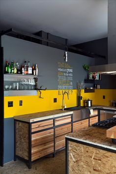 The counters are made from oriented strand board, but eventually Mr. Scott intends to replace them.