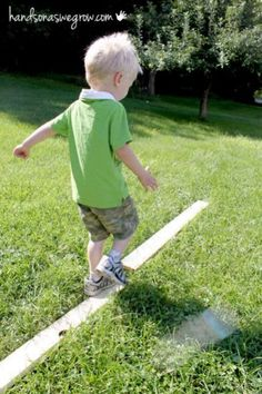 A homemade balance beam for toddlers