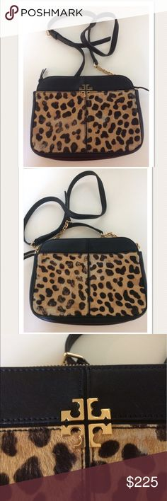 """$495 Tory Burch Ivy Leopard Print HairCalf Crossbo High end department store customer return. Retails for $495 100% Authentic  Beautifulhair calf on front and back Black leather Gold tone hardware with gold chain Main zip closure  Measures approximately: total length across 9.25"""" inside depth 6.75"""" strap drop 21""""  Some of the hair has been rubbed off in a few spots on the front and back- refer to photos. Otherwise very nice, gently worn. PRICED TO SELL FAST! PLEASE ASK ANY QUESTIONS…"""