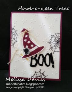 2015 Stamps: Howl-o-ween Treat, Witches Night Ink: Archival Basic Black, Crushed Curry, Rich Razzleberry Paper: Whisper White, Rich Razzleberry, Basic Black Glimmer Accessories: Crushed Curry Baker's Twine, Boo to You framelits, Lucky Stars embossing folder