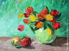 """Яркая сочная картина """"Тюльпаны"""", написанная маслом — работа дня на Ярмарке Мастеров #art"""