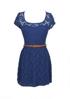Short-sleeve allover lace dress with keyhole back detail. Adjustable/removable belt and elasticized waist for comfortable fit.