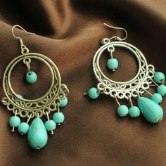 Online Shop Brincos de turquesa Natural , personalidade da moda vintage borla gota style antigo tibetano prata turquesa brinco|Aliexpress Mobile
