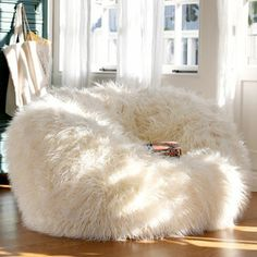 Adorable White Fur Bean Bag Chair For Teen Girl : Extraordinary Cute and Comfortable Teen Bedroom Chairs Shown as Bean Bag Chairs for Girls and Boys - large ladies bags, online shopping for bags, bag for bags *ad Chairs For Bedroom Teen, Girls Bedroom Furniture, Comfortable Chairs For Bedroom, White Bedroom Chair, Bedroom Seating, Wallpaper English, Bedroom Pictures, Bedroom Pics, Fur Bean Bag