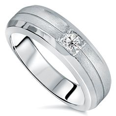 Mens White Gold Solitaire Brushed Diamond Wedding Ring