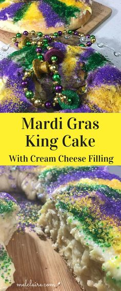 There's no need to serve a store bought King Cake when you can make this Mardi Gras King Cake with Cream Cheese Filling in your own kitchen! via @https://www.pinterest.com/MelClairedotcom/
