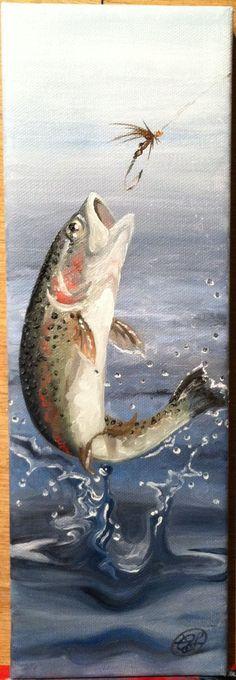 Original oil painting 'Rainbow Trout' 4x12 on by Arterlee on Etsy, $195.00 #OilPaintingIdeas