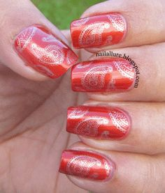 My Nail Files: Gold Paisley on Scarlet and Revlon Top Coat Review - #diwali