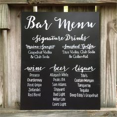 Wedding Sign Singnature Drinks Beer Wine Spirits By Papertangent