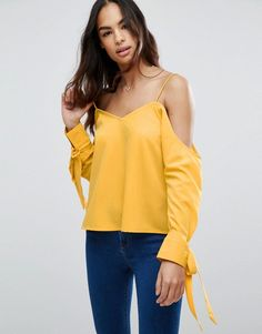 ASOS Cold Shoulder Top With Cuff and Tie - Yellow