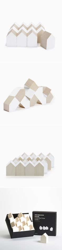 Archiblocks in white by Cinqpoints - Wooden building blocks to creating cities and modern architecture