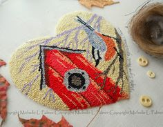 Michelle Palmer punch needle Maple Syrup Perch pattern. Birdhouse red breasted nuthatch bird