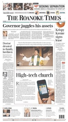 The Roanoke Times front page: Aug. 8, 2013. Sign up for a digital subscription at roanoke.com/subscribe.