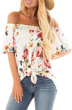 687e57adc3e0 Women s Casual Off Shoulder Short Sleeve Button Down Font Tie Knot T Shirts  Tops