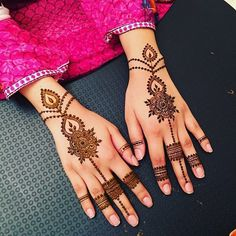 sleeves-in-fuchsia-and-white-with-scale-like-patterns-worn-by-a-woman-with-delicate-hands-decorated-with-brwon-cute-henna-traditional-mehndi Pakistani Mehndi Designs, Eid Mehndi Designs, Stylish Mehndi Designs, Mehndi Designs For Girls, Mehndi Designs For Beginners, Mehndi Design Images, Beautiful Mehndi Design, Latest Mehndi Designs, Beautiful Patterns