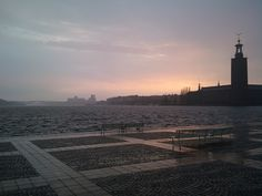 Sunset in the rain over Stockholm City Hall