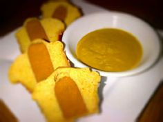 "Vegan Corn Dog Muffins with Agave ""Honey"" Mustard Dipping Sauce"