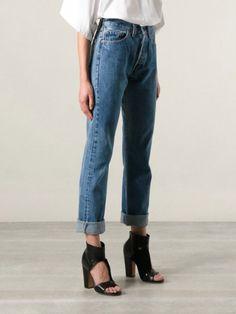 huge selection of 6a8ce e4021 Dream look. Perfect blue jeans, white shirt, black heels Levis 501,  Minimalistiskt