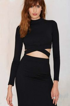 Nasty Gal Cut Above Crop Top - Black - Cropped | Sets | Tops