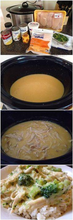 Easy Crock Pot Chicken and Broccoli Rice Recipe! This was SOO easy!