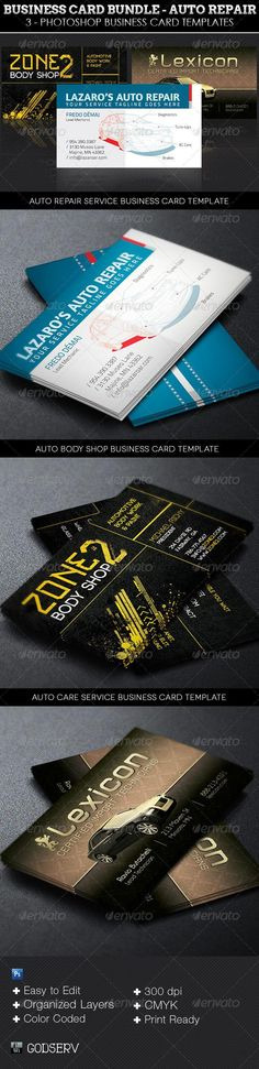 18 best Body Shop Business Cards images on Pinterest   Business     Buy Auto Repair Business Card Template Bundle by Godserv on GraphicRiver  Auto  Repair Business Card Template Bundle is for modern auto repair or auto body