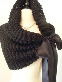 Wedding Shawl / Wedding Cape / Bridal Bolero / Bridal Shawl / Black Shawl / Hand Knit Shawl / Black Tie / Handmade Shawl / Bolero / Shrug