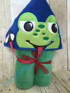 "Boy Frog with Fly Applique Hooded Bath, Beach Towel 30"" x 54"" by MommysCraftCreations on Etsy"
