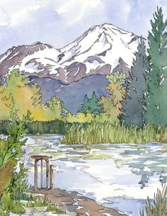 The Mountain is my Safe Place  Large Print of Pond by BlueOtterArt, $110.00