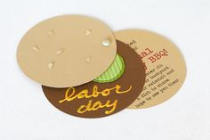 """Upcoming BBQ for Labor Day? Invite your guests with a hamburger invitation! Use yellow puff paint to give a """"mustard"""" effect! Find craft supplies to make this project at www.cardstockshop.com."""
