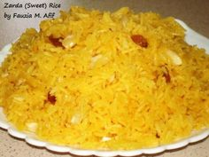 This sweet rice dish is extremely yummy.and super easy to make! Recipe adapted from Rania Zohaib with some alterations Indian Dessert Recipes, Sweets Recipes, Cooking Recipes, Ethnic Recipes, Indian Sweets, Indian Sweet Rice Recipe, Rice Dishes, Food Dishes, Food Food
